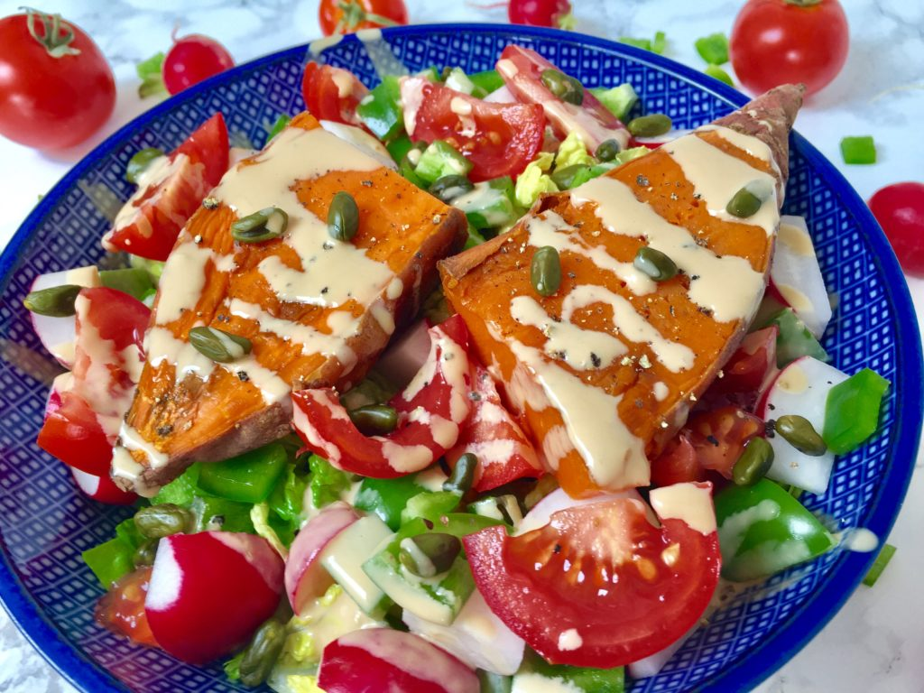 Rohkostsalat & Süßkartoffel vegan