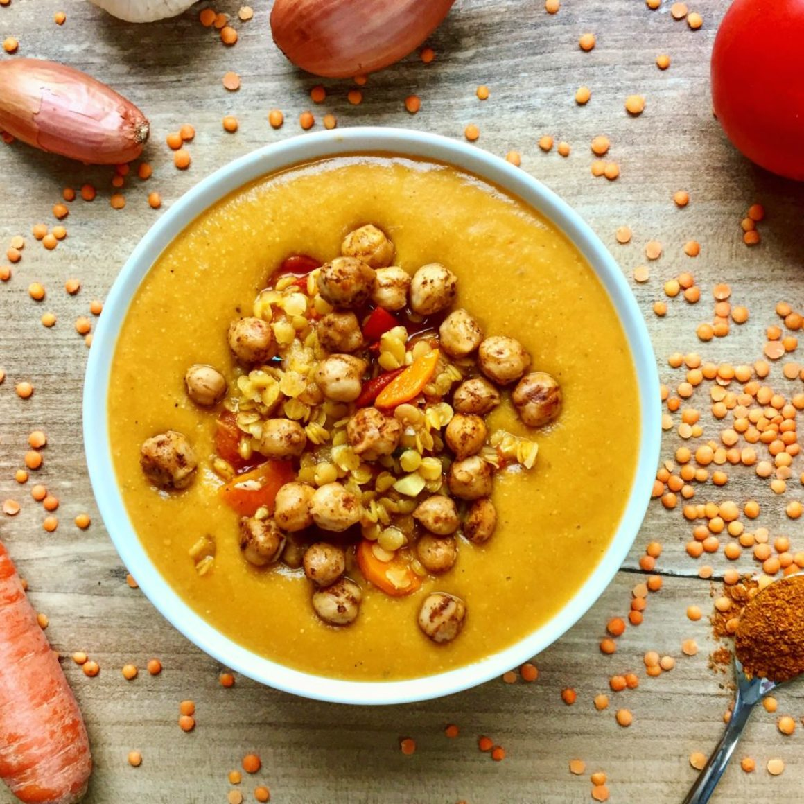 Rote Linsen-Kichererbsen-Suppe vegan