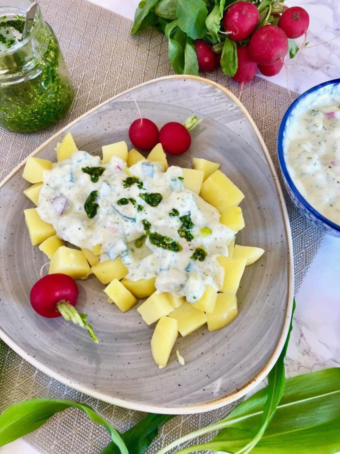 Kartoffeln und Frühlingsquark vegan
